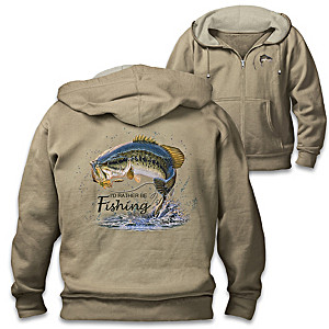 "Al Agnew ""Fish On!"" Full-Zip Men's Hoodie With Sentiment"
