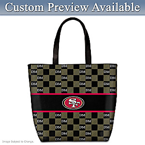 49ers Tote With Your Initials In A Designer Print