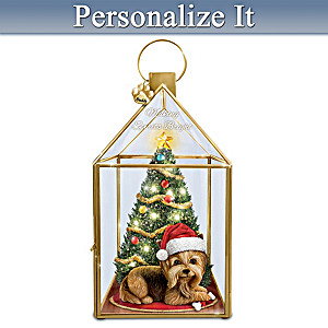 Personalized Yorkie Lantern Plays Holiday Songs & Lights Up
