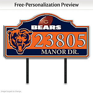 Chicago Bears Personalized Outdoor Address Sign