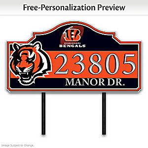 Cincinnati Bengals Personalized Outdoor Address Sign
