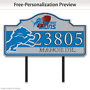 Detroit Lions Personalized Outdoor Address Sign