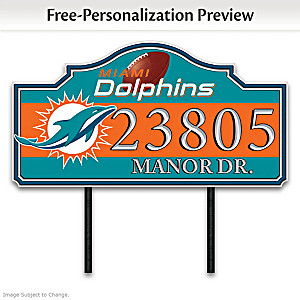 Miami Dolphins Personalized Outdoor Address Sign