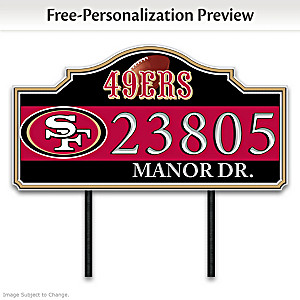 San Francisco 49ers Personalized Outdoor Address Sign