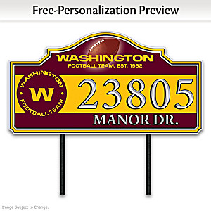 Washington Football Team Personalized Outdoor Address Sign