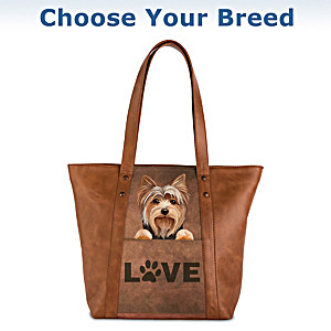 """Peek-A-Boo Pup"" Faux Leather Tote Bag: Choose Your Breed"