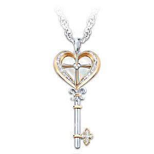 """""""Key To Heaven"""" Mother Of Pearl Cross Pendant Necklace"""