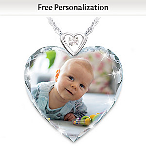 Personalized Photo Crystal Pendant Necklace With Diamond
