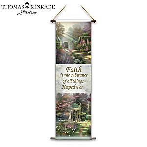 """Thomas Kinkade """"Faith"""" Fabric Tapestry"""