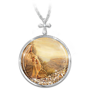 Holy Land Sand And Diamond Necklace With Greg Olsen Art