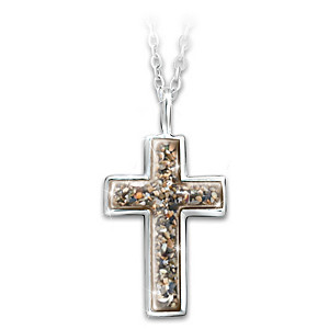 """""""Grounded In Faith"""" Cross Pendant With Sand From Holy Land"""
