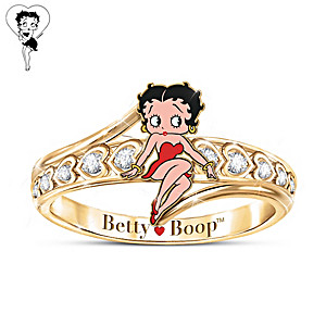 """""""Queen Of Class"""" Engraved Betty Boop Ring With White Topaz"""