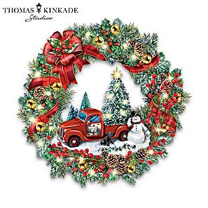 Thomas Kinkade Illuminated Wreath With Vintage Pickup Truck