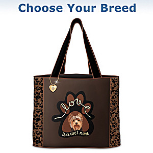 """Love Is A Wet Nose"" Quilted Tote Bag: Choose Your Breed"