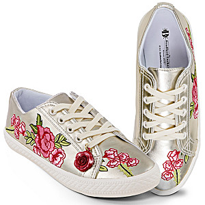 """""""Rose In Bloom"""" Embroidered Faux Leather Women's Sneakers"""