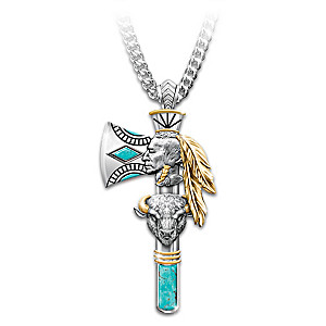 """Pride Of The West"" Turquoise Inlay Men's Pendant Necklace"