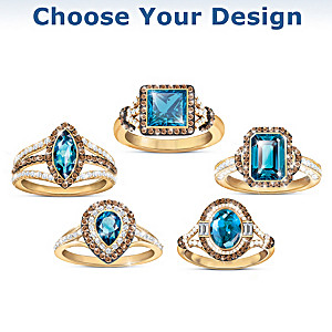 London Blue Topaz Women's Gemstone Ring: Choice Of 5 Designs