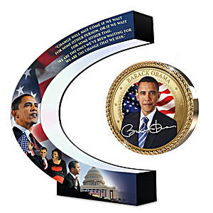 President Obama Photo Disc Floats & Spins Over Light-Up Base