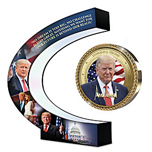President Trump Photo Disc Floats & Spins Over Light-Up Base