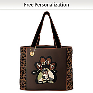 """Love Is A Wet Nose"" Tote Personalized With Your Dog's Photo"