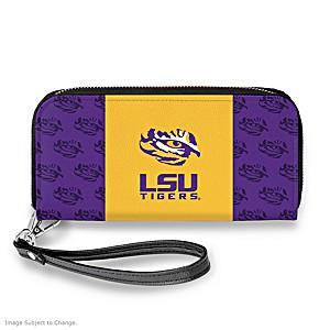 LSU Tigers Women's Faux Leather Clutch Wallet
