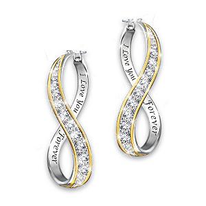 """Forever Love"" Engraved Infinity Hoop Diamond Earrings"