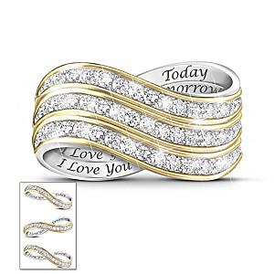 """Forever Love"" Set Of 3 Stackable Diamond Rings"