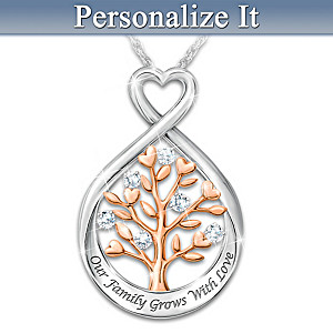 Personalized Tree-Design Diamond Necklace With Family Names