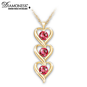 Diamonesk Ruby Pendant Necklace With Real Rose Keepsake Box