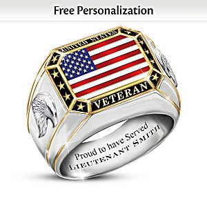 U.S. Veteran Ring Personalized With Military Rank And Name