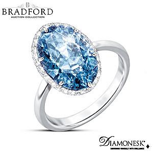"""""""Vivid Blue"""" 7-Carat Diamonesk Simulated Diamond Ring"""