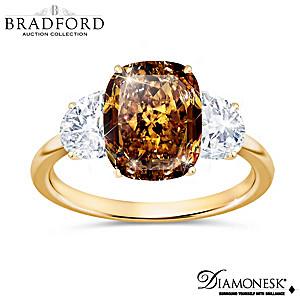 """Golden Glamour"" Diamonesk Simulated Brown Diamond Ring"