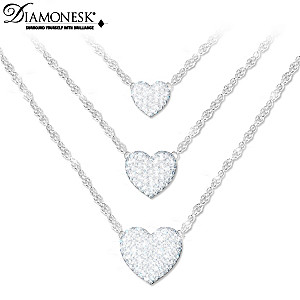"""Love Grows"" Diamonesk Layered Necklace With Three Hearts"
