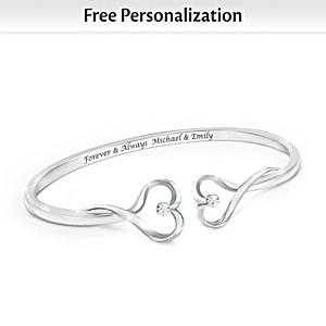 """""""Forever & Always"""" Personalized Diamond Bangle Bracelet"""