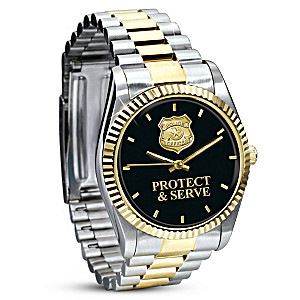 """Protect & Serve"" Stainless Steel Watch For Policemen"