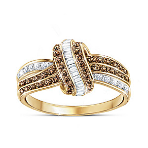 """Mochaccino Twist"" 18K Gold-Plated Ring With 76 Diamonds"