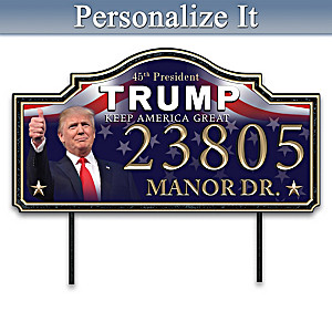 President Trump Personalized Weather-Safe Metal Address Sign