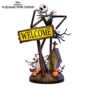 Nightmare Before Christmas Solar Lit Outdoor Welcome Sign