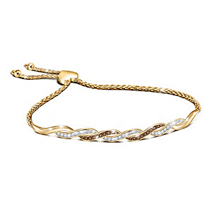 18K Gold-Plated Bolo Bracelet With White & Mocha Diamonds