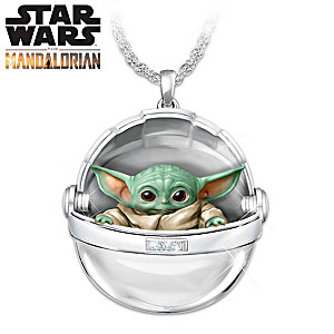 The Mandalorian Hover Pram Necklace With The Child Inside