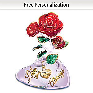 Art Glass Rose Sculpture Personalized With Your Two Names