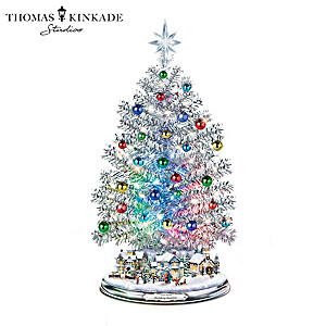 """""""Silver Blessings"""" Musical Tree With Color-Changing Lights"""