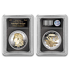 Schoolgirl Silver Morgan Proof Coin With 24K-Gold Plating