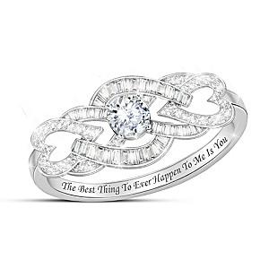 """""""My Love, My Life"""" Genuine White Topaz Women's Ring"""