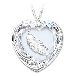 """""""Touch Of An Angel"""" Remembrance Crystal Pendant Necklace"""