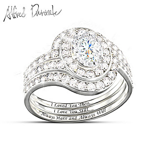 Alfred Durante Genuine White Topaz Romantic Stacking Ring