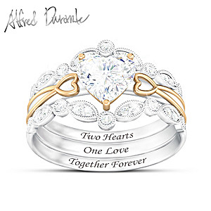 Alfred Durante Stacking Ring Set With 1 Carat Of White Topaz