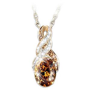"""Amour"" Genuine Cocoa Quartz And Diamond Pendant Necklace"
