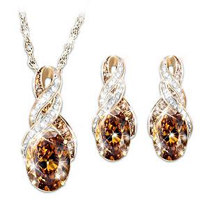 Cocoa Quartz, White & Mocha Diamond Necklace & Earrings Set