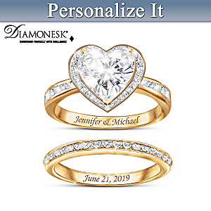 """Surrounded By Love"" Personalized Diamonesk Bridal Ring Set"